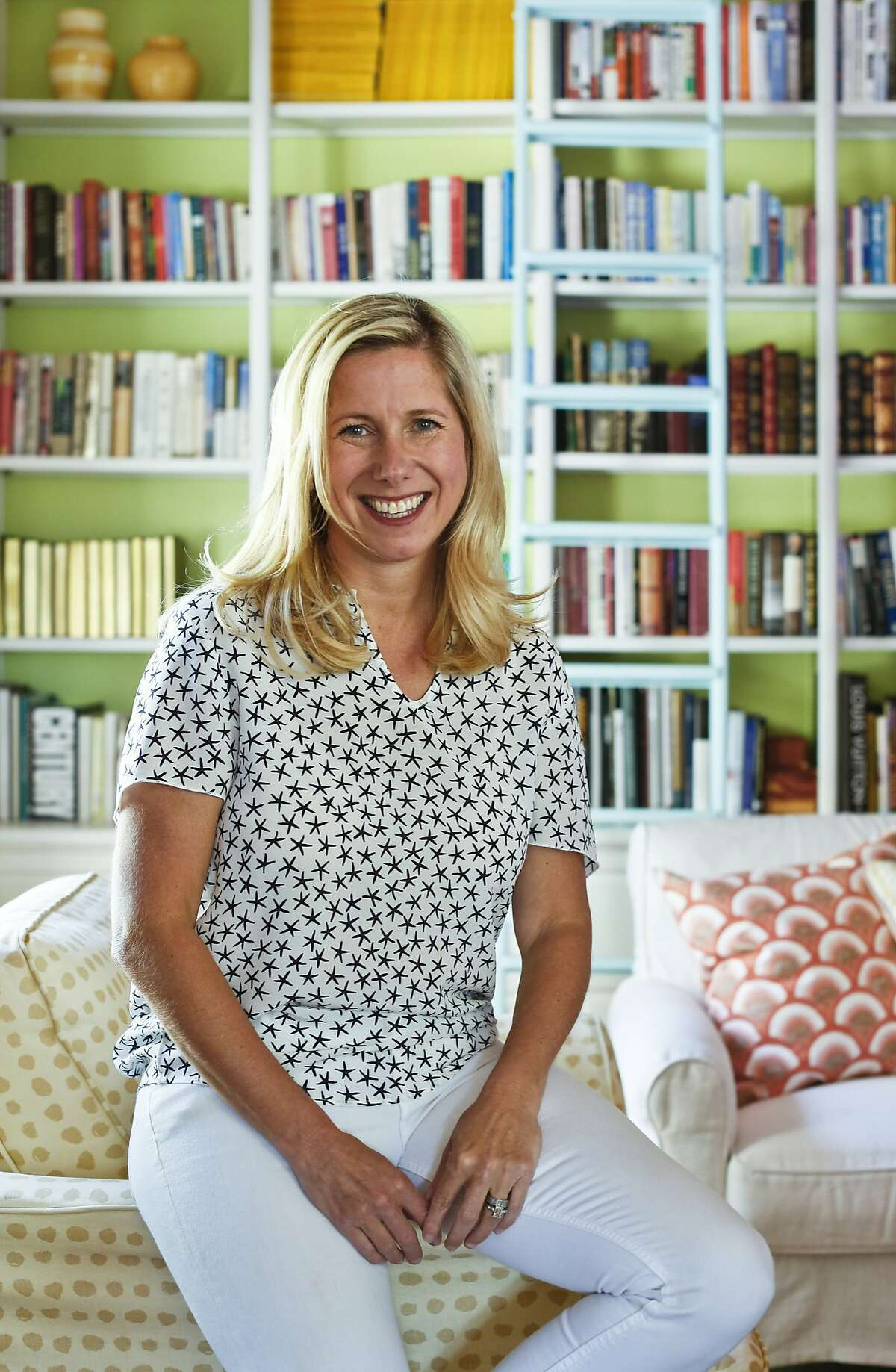 Lily Kanter, co-founder of the home and textiles company Serena & Lily, in the library of her Mill Valley home.