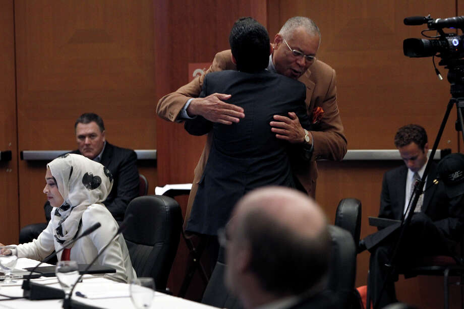 Avi Oved gets a hug from Regent Eddie Island after being voted in as a student regent-designate during a UC Board of Regents meeting at the UCSF Mission Bay Community Center in 2014. Photo: Michael Short / Michael Short / The Chronicle 2014 / ONLINE_YES
