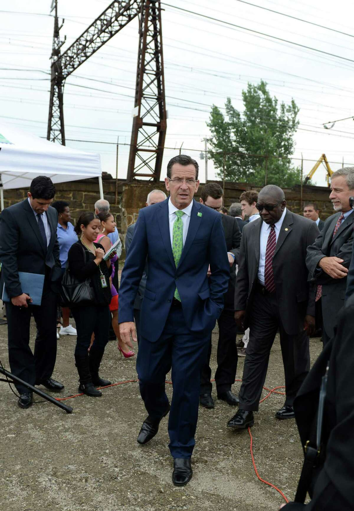 Gov. Dannel P. Malloy was in Bridgeport Wednesday, July 16, 2014, to announce funding for a new train station on Bridgeport's East Side. The State Bond Commission will approve $2.75 million for the design of a second train station to be built on the site of the former Remington Arms factory on the south side of Barnum Avenue which the state had previously given the city $2 million to demolish.