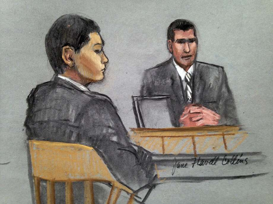 In this courtroom sketch, defendant Azamat Tazhayakov (left) listens to testimony by FBI Special Agent Phil Christiana on July 7, the first day of Tazhayakov's trial on obstruction of justice and conspiracy charges. Photo: Jane Flavell Collins, Associated Press