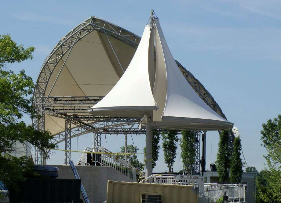 Graceful sail-shaped canopies cover the performance venues at the new Levitt Pavilion complex, scheduled to open Sunday. Photo: Meg Barone / Westport News