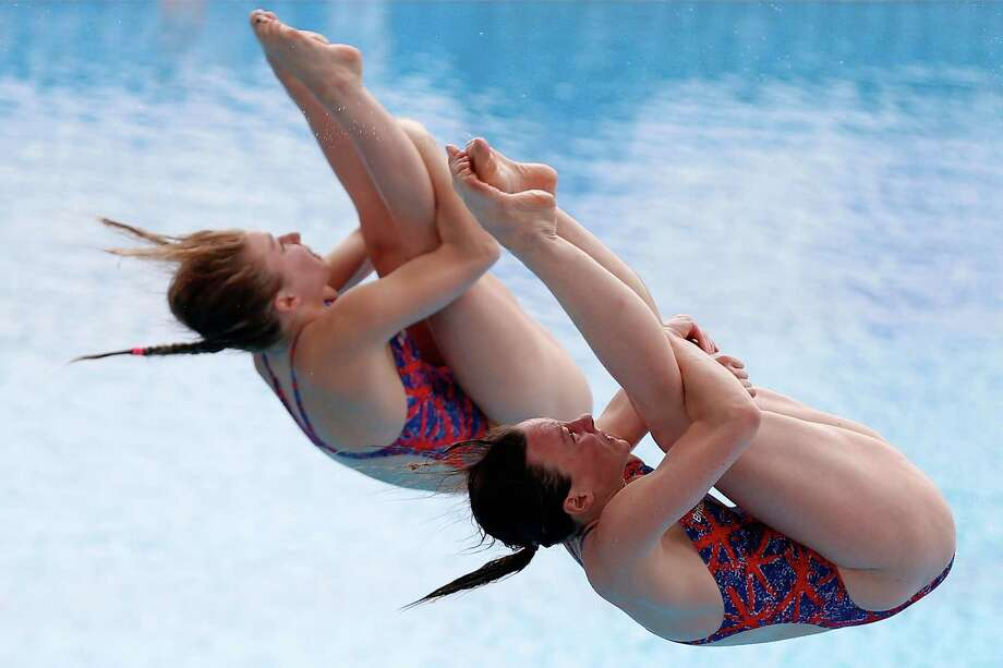 Rebecca Gallantree and Hannah Staring of Great Britain compete in the Women's 3m Springboard Synchro Final on day two of the 19th FINA Diving World Cup at the Oriental Sports Center on July 16, 2014 in Shanghai, China. Photo: Lintao Zhang, Getty Images / 2014 Getty Images