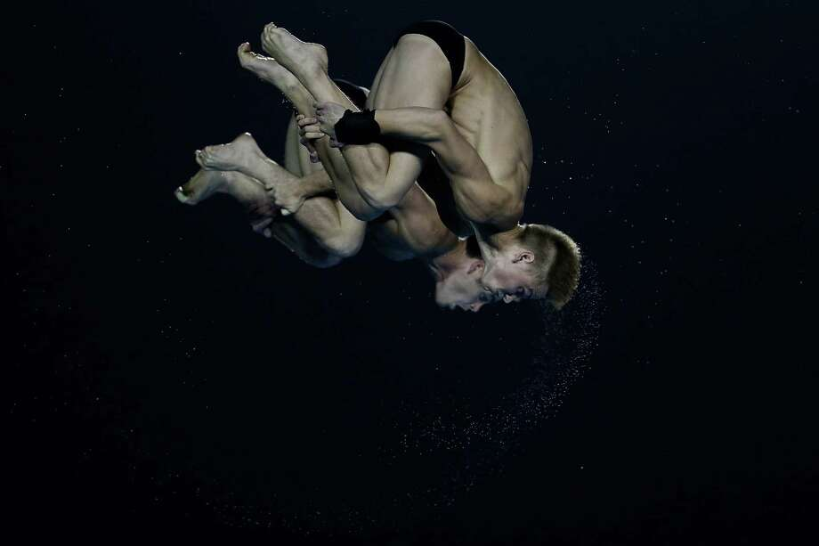 David Boudia and Steele Johnson of United States compete in the men's 10M Synchro Springboard Final on day two of the 19th FINA Diving World Cup at the Oriental Sports Center on July 16, 2014 in Shanghai, China. Photo: Lintao Zhang, Getty Images / 2014 Getty Images
