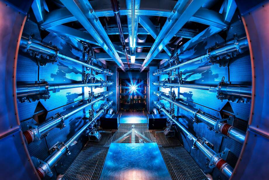 "This is a view of the massive ""preamplifyer"" chamber at Livermore's National Ignition Facility that boosts the energy of its laser beam to tremendous pressures that enables scientists to recreate conditions at the cores of giant planets like Jupiter and Saturn. Photo: Damien Jemison, Lawrence Livermore National Labo"