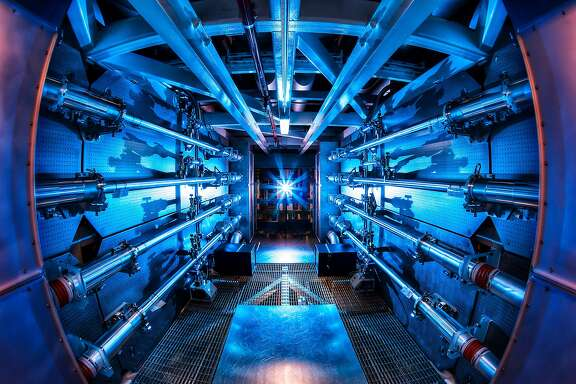 "This is a view of the massive ""preamplifyer"" chamber at Livermore's National Ignition Facility that boosts the energy of its laser beam to tremendous pressures that enables scientists to recreate conditions at the cores of giant planets like Jupiter and Saturn."