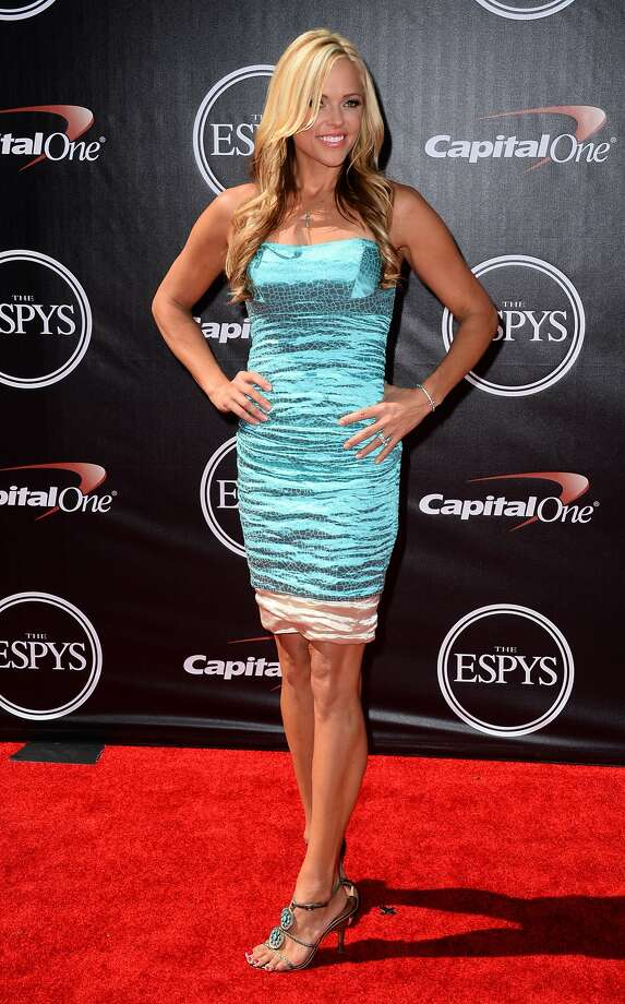 Softball pitching legend Jennie Finch arrives at the ESPY Awards at the Nokia Theatre on Wednesday, July 16, 2014, in Los Angeles. (Photo by Jordan Strauss/Invision/AP) Photo: Jordan Strauss, Associated Press