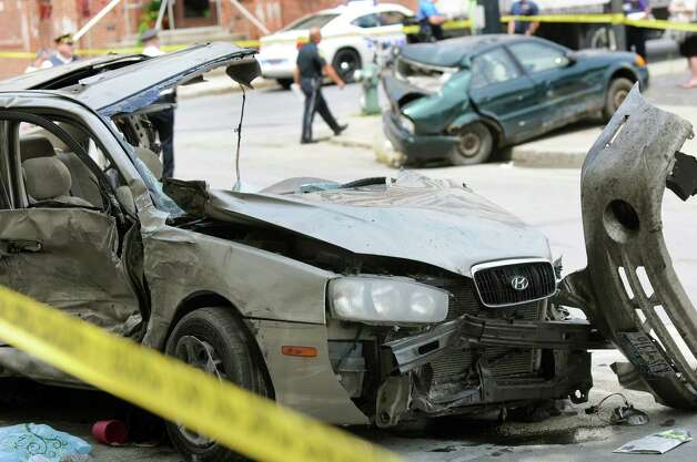 Vehicles involved in a crash on Sheridan Avenue near Chapel Street on Wednesday, July 16, 2014, in Albany, N.Y. (Cindy Schultz / Times Union) Photo: Cindy Schultz