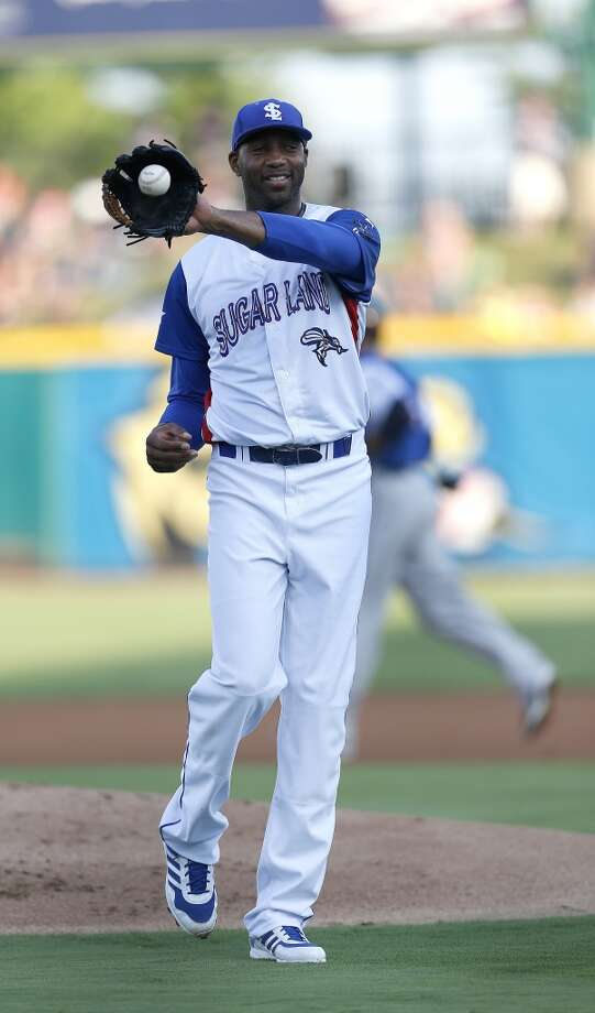 Skeeters pitcher Tracy McGrady reacts to walking a batter in the first inning of the Atlantic League All-Star game at Constellation Field, Wednesday, July 16, 2014, in Sugar Land. ( Karen Warren / Houston Chronicle  ) Photo: Karen Warren, Houston Chronicle