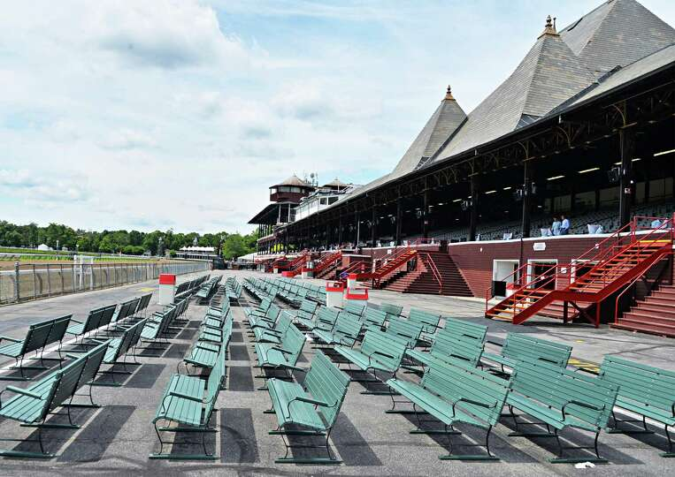 Saratoga Race Course stands are ready for a new racing season Wednesday, July 16, 2014, in Saratoga