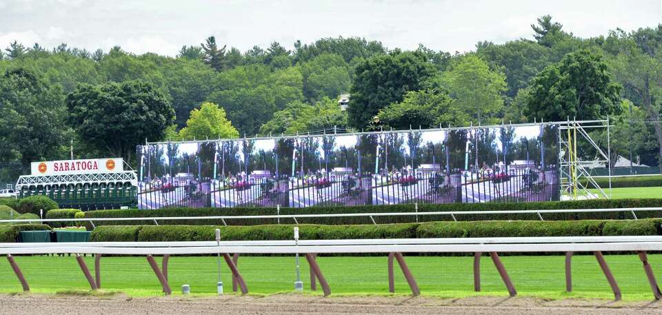 New high-definition infield video boards are in place at Saratoga Race Course Wednesday, July 16, 20