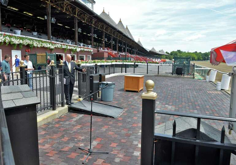 The newly expanded Winner's Circle at Saratoga Race Course Wednesday, July 16, 2014, in Saratoga Spr