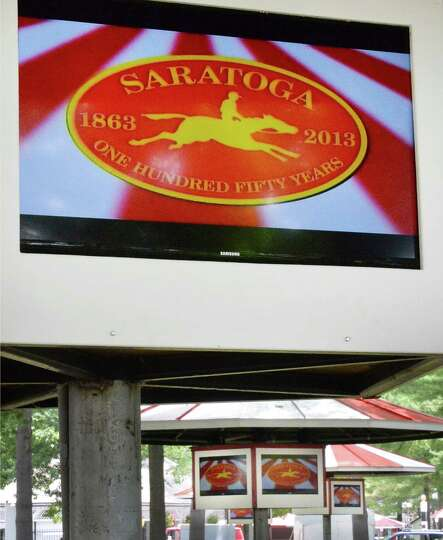New HD televisions are mounted in the picnic area at Saratoga Race Course Wednesday, July 16, 2014,
