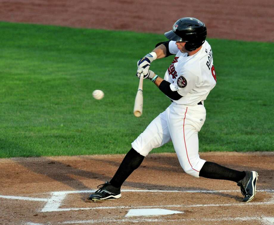 Tri-City ValleyCats' Bobby Boyd gets a base hit against the Aberdeen IronBirds during their minor league baseball game on Wednesday, July 16, 2014, in Troy, N.Y., (Hans Pennink / Special to the Times Union) ORG XMIT: HP101 Photo: Hans Pennink / Hans Pennink