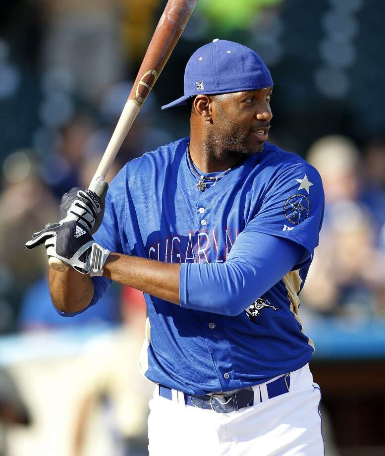 Skeeters Tracy McGrady competes in the home run derby during the Atlantic League All-Star game at Constellation Field, Wednesday, July 16, 2014, in Sugar Land. ( Karen Warren / Houston Chronicle  ) Photo: Karen Warren, Houston Chronicle