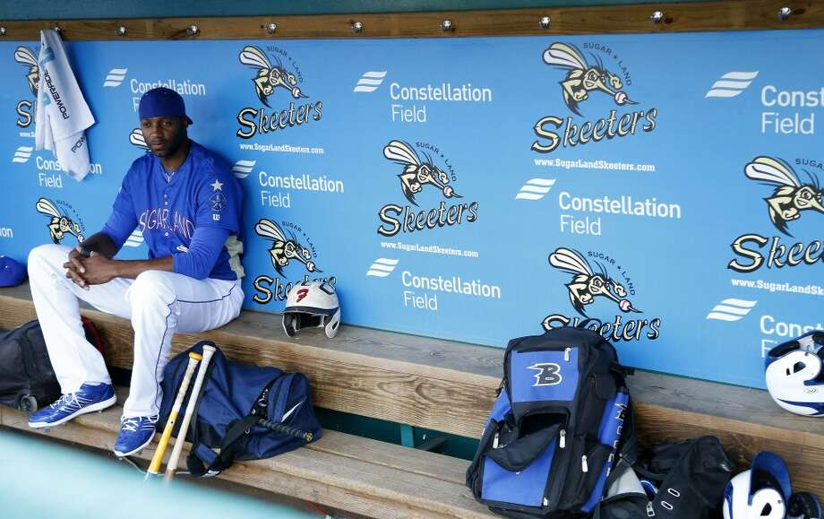 Tracy McGrady sits in the dugout before the home run derby during the Atlantic League All-Star game at Constellation Field, Wednesday, July 16, 2014, in Sugar Land. ( Karen Warren / Houston Chronicle  ) Photo: Karen Warren, Houston Chronicle