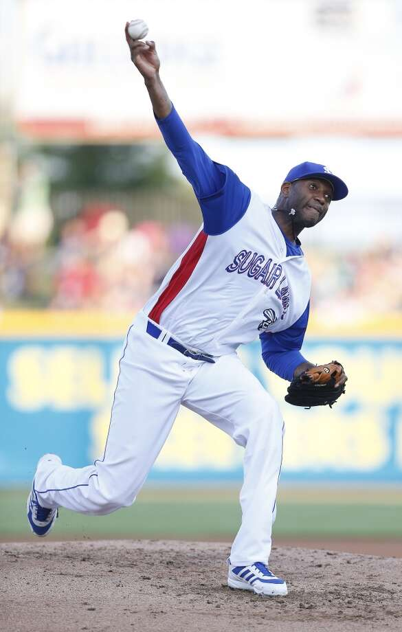 Skeeters pitcher Tracy McGrady pitches in the second inning of the Atlantic League All-Star game at Constellation Field, Wednesday, July 16, 2014, in Sugar Land. ( Karen Warren / Houston Chronicle  ) Photo: Karen Warren, Houston Chronicle