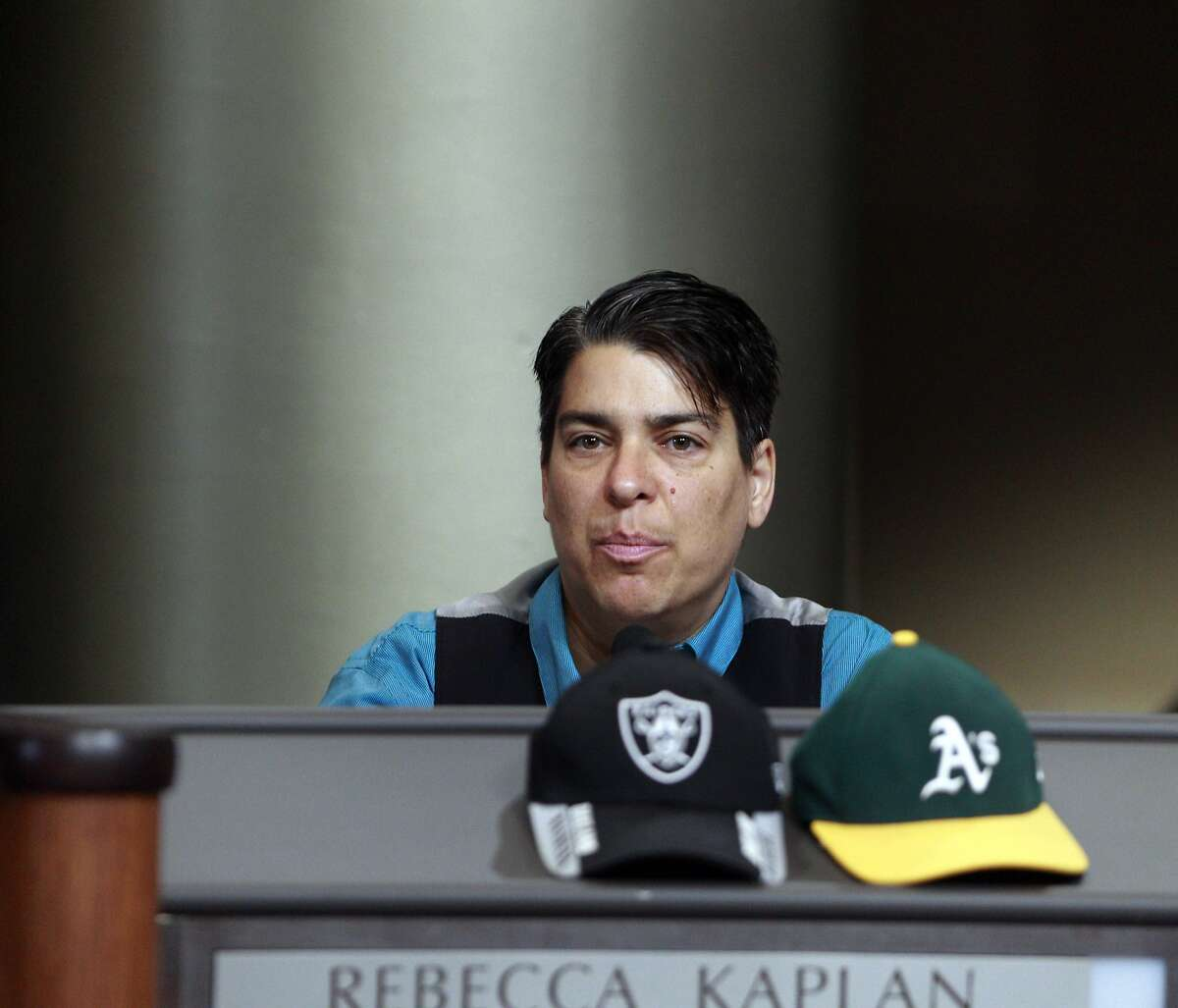 Supervisor Rebecca Kaplan addresses the council after public comment during Wednesday's council meeting. The Oakland City Council voted to revise the proposed lease agreement with the Oakland Athletics on Wednesday night, July 16, 2014, during a special session in Oakland, Calif. The revised lease must be approved bythe Coliseum Authorityand the Athletics now.