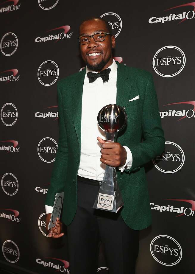 LOS ANGELES, CA - JULY 16: NBA player Kevin Durant with award for best male athlete at the 2014 ESPYS at Nokia Theatre L.A. Live on July 16, 2014 in Los Angeles, California.  (Photo by Christopher Polk/Getty Images For ESPYS) Photo: Christopher Polk