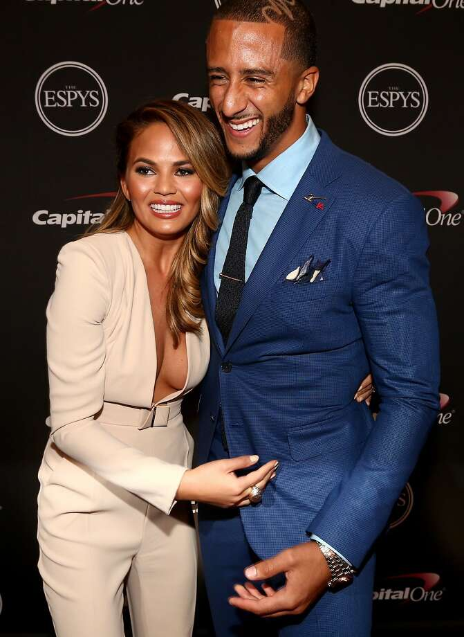 LOS ANGELES, CA - JULY 16:  (L-R) Model Chrissy Teigen and NFL quarterback Colin Kaepernick backstage at The 2014 ESPYS at Nokia Theatre L.A. Live on July 16, 2014 in Los Angeles, California.  (Photo by Christopher Polk/Getty Images For ESPYS) Photo: Christopher Polk