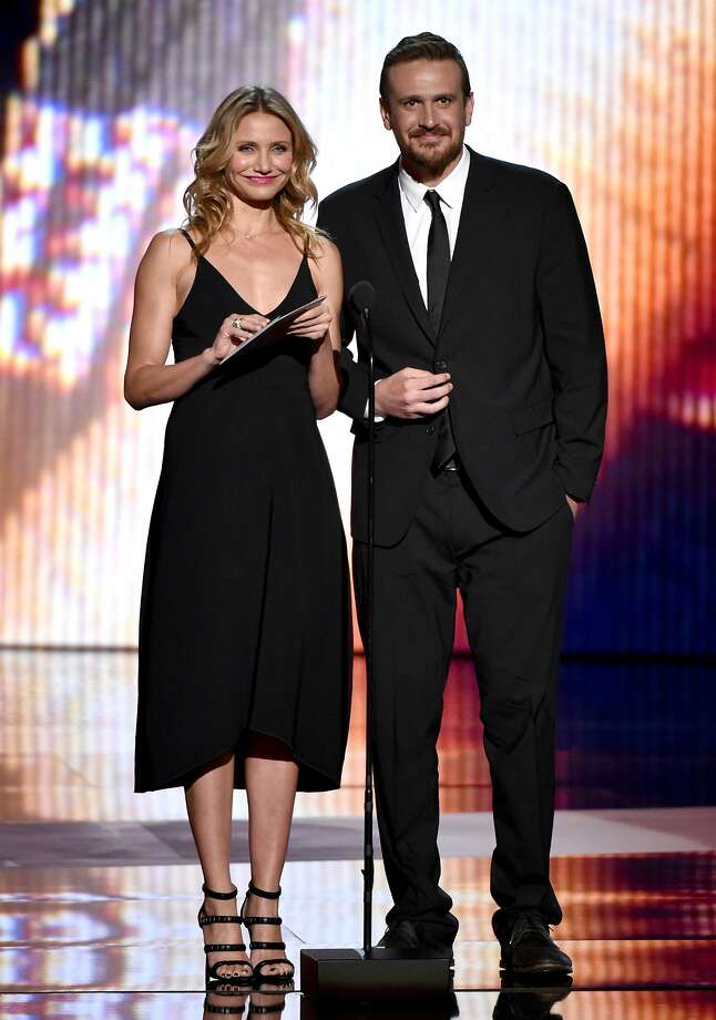 Cameron Diaz, left, and Jason Segel, right, present the award for best breakthrough athlete at the ESPY Awards at the Nokia Theatre on Wednesday, July 16, 2014, in Los Angeles. (Photo by John Shearer/Invision/AP) Photo: John Shearer, Associated Press