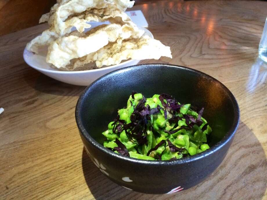 English and snap peas with white miso and purple shisho ($10)