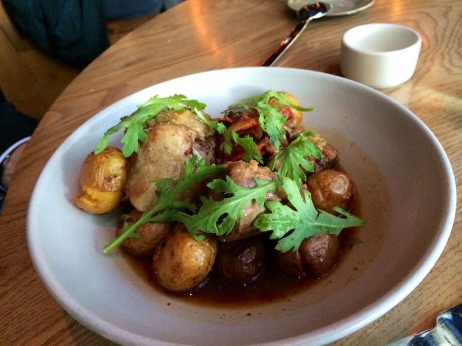 Braised oxtail with potatoes and kimchi ($17).