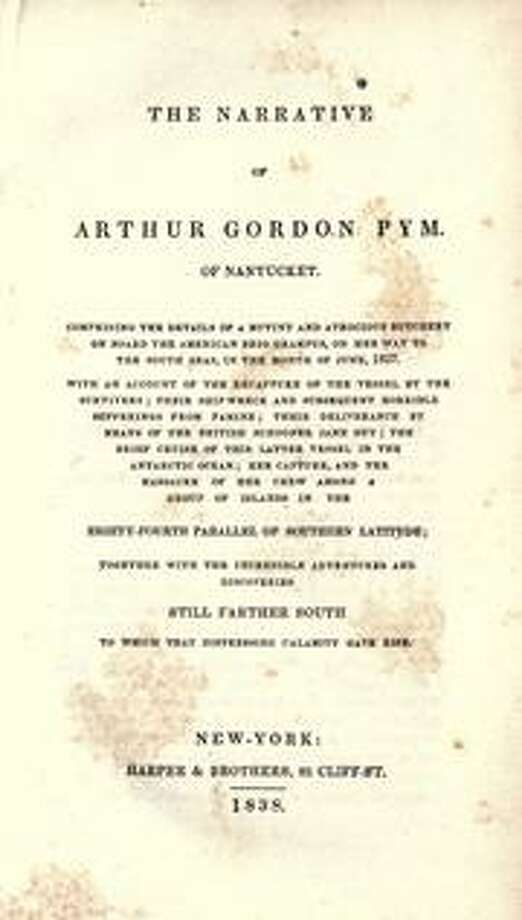 """The Narrative of Arthur Gordon Pym of Nantucket,"" the only novel by Edgar Allan Poe,  follows the adventures and misadventures of Pym, who stows away on a whaling ship and encounters shipwreck, mutiny, and cannibalism. It was published in 1838."