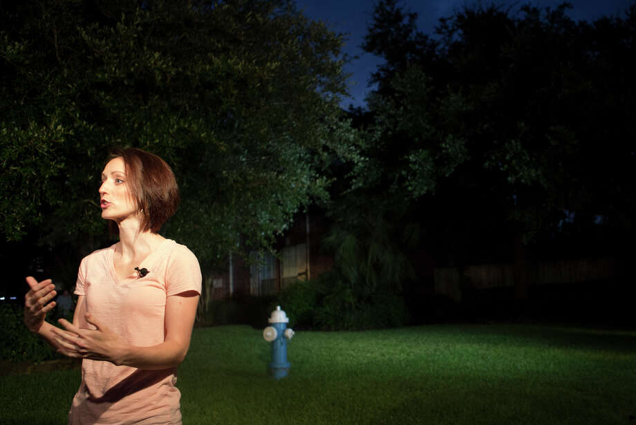 The media interviews Moriah Davis in front of Don Guthrie's home, Wednesday, July 16, 2014, in Spring. Moriah taught dance to Katie's children and saw them with great frequency. Photo: Cody Duty, Houston Chronicle / © 2014 Houston Chronicle