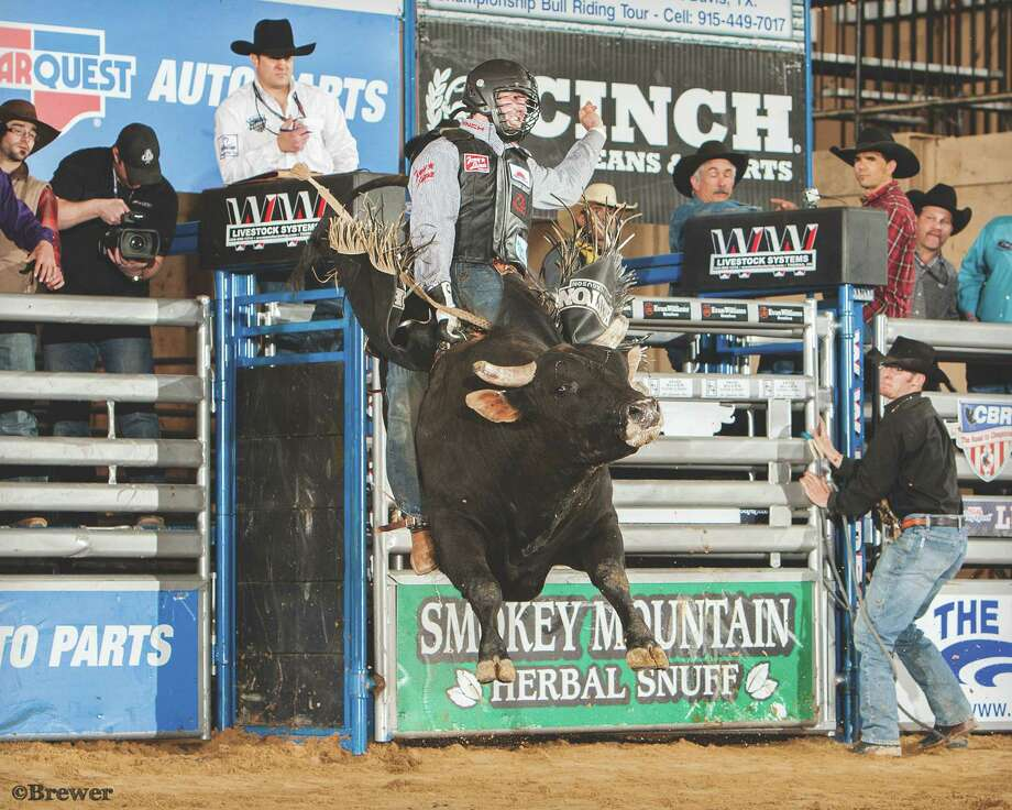 Cody Teel rode a bull named Mayhem as he won the Lufkin Bull Bash this year. Teel is set to ride next week in Championship Bull Riding World Finals at Cheyenne Frontier Days. Courtesy of Todd Brewer