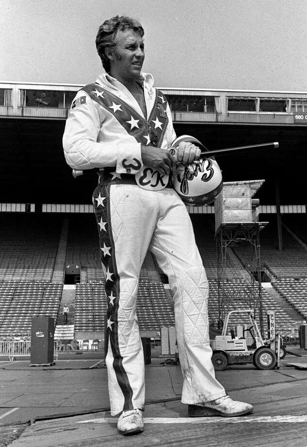 Evel Knievel appears in this undated file photo. Knievel, the hard-living motorcycle daredevil whose exploits made him an international icon in the 1970s, died Friday, Nov. 30, 2007. He was 69. (AP Photo/File) Photo: AP