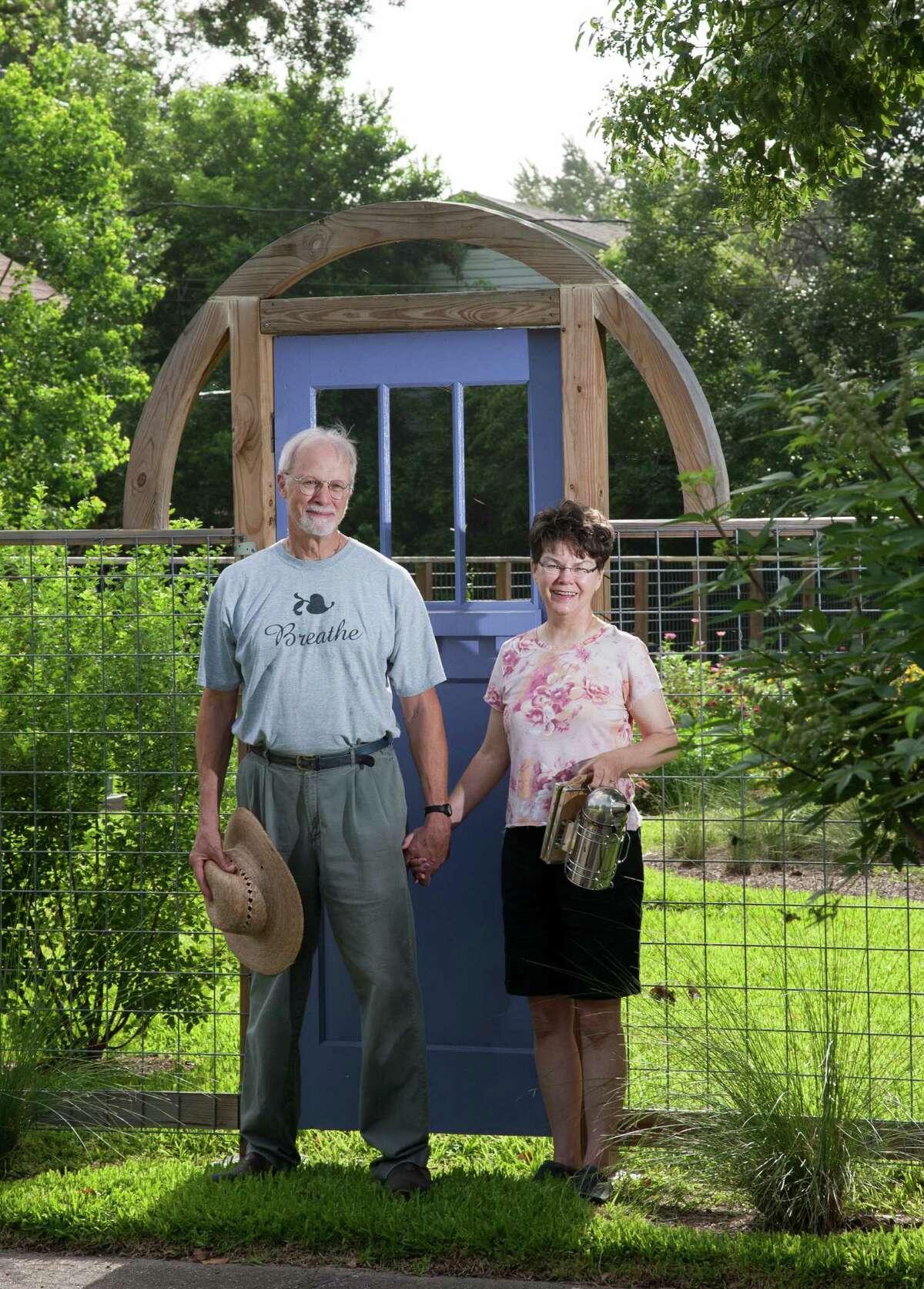 Bee enthusiast Micki Fine and her husband, John Pavlicek, have planted a pollinator way station. John Everett photo