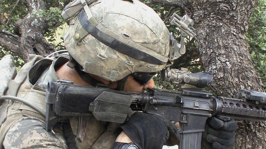 """Staff Sgt. Elliot Alcantara is on patrol in Afghanstan in """"Korengal."""" Photo: Korengalthemovie.com / ONLINE_YES"""