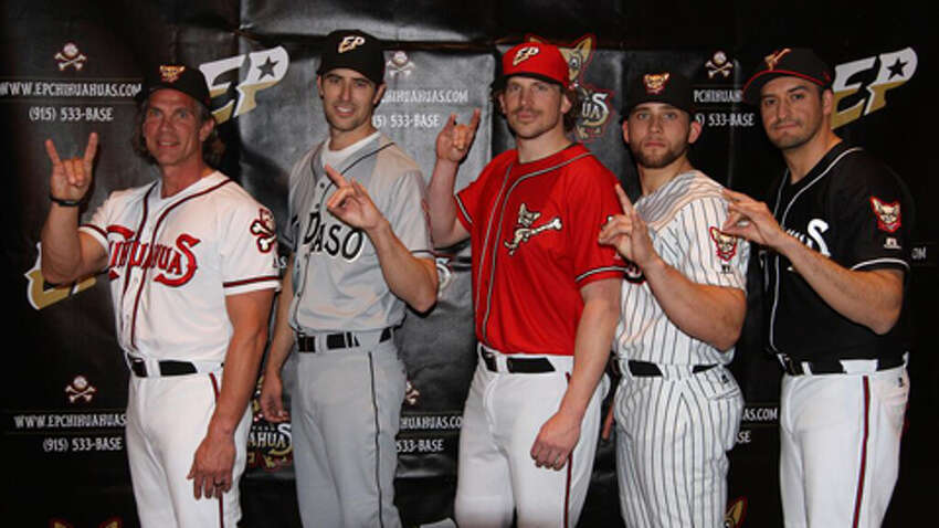 These are the traditional uniforms for the El Paso Chihuahuas affiliates of MLB's San Diego Padres and the Double-A San Antonio Missions.