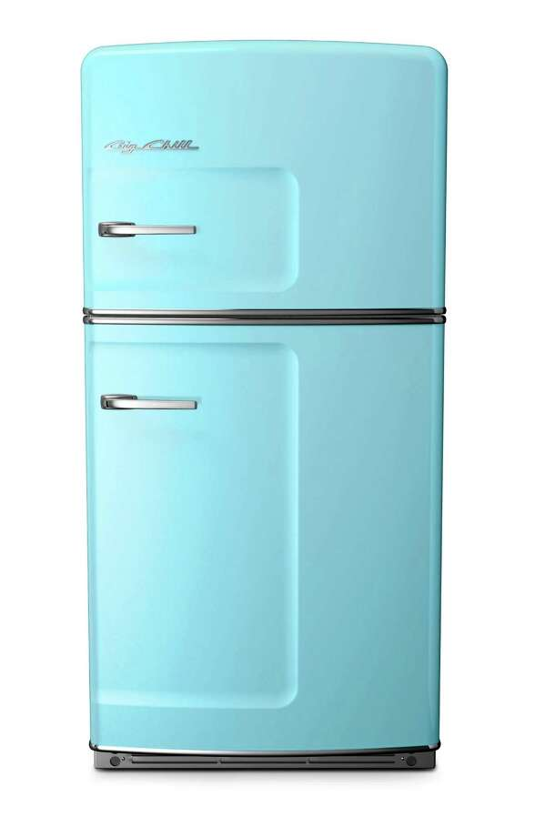 This photo provided by Big Chill shows a beach blue large refrigerator. With strong color trending in kitchens, Big Chill's vibrant hues in fridges, ovens and range hoods hit the style mark.  As a pop of color in an otherwise low key kitchen, or as part of an overall exuberant space, appliances like these, particularly with some retro details, stand out from the standard stainless offerings. (AP Photo/Big Chill) ORG XMIT: NYLS569 / Big Chill