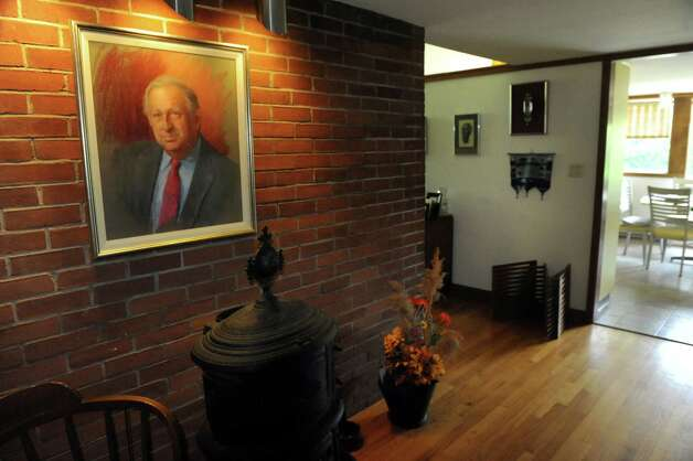 The entryway of Albany architect Harris Sanders' home, which he designed, includes a portrait of himself on Wednesday July 2, 2014, in Albany, N.Y. (Cindy Schultz / Times Union) Photo: Cindy Schultz / 00027583A