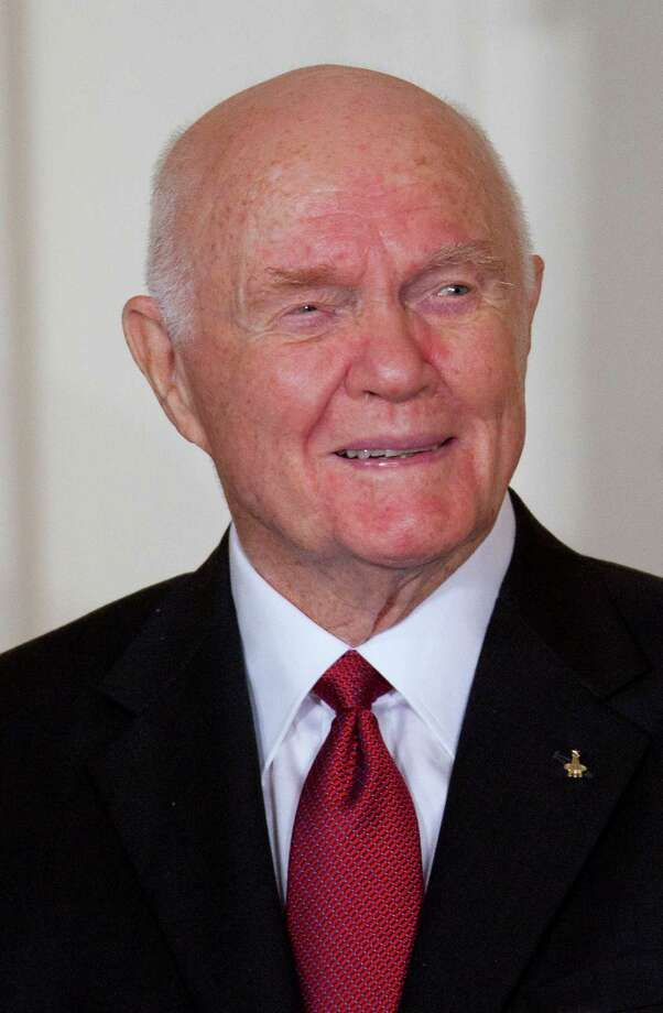 John Glenn, former Marine Corps pilot, astronaut and U.S. Senator, listens before being awarded the Presidential Medal of Freedom from U.S. President Barack Obama at the White House in Washington, D.C., U.S., on Tuesday, May 29, 2012. The Medal of Freedom is the nation's highest civilian honor. Photographer: Andrew Harrer/Bloomberg *** Local Caption *** John Glenn Photo: Andrew Harrer / © 2012 Bloomberg Finance LP