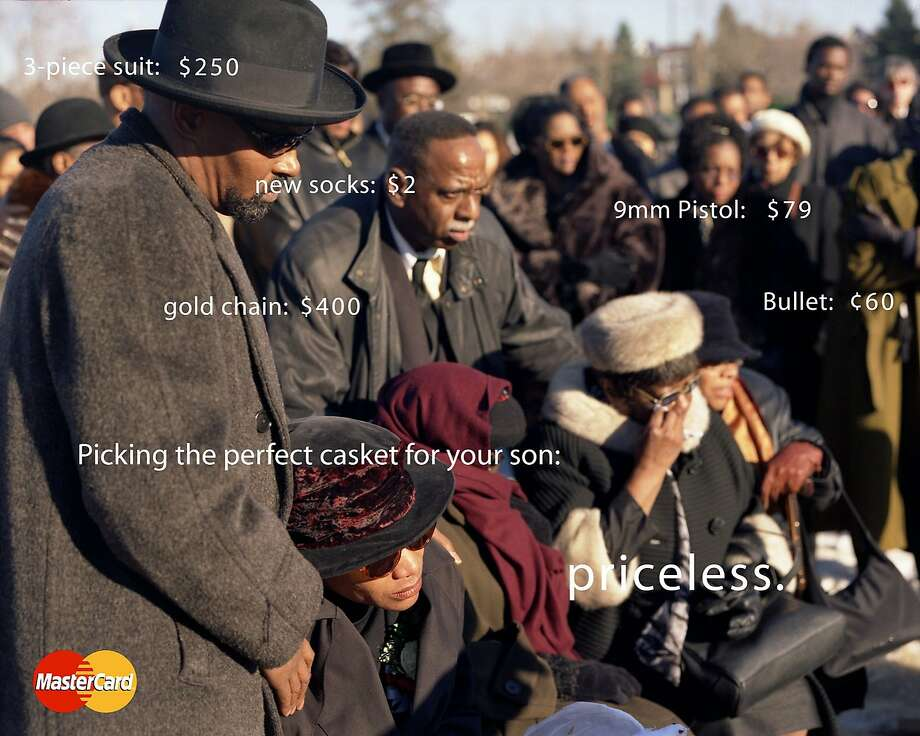 "Digital print ""Priceless #1"" by Hank Willis Thomas, a bitter satire of a MasterCard commercial, was one of the memorable works at the 2005 ""Bay Area Now 4"" exhibition at Yerba Buena Center for the Arts. Photo: Hank Willis Thomas, Yerba Buena Center For The Arts"