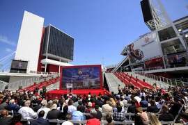 49ers CEO Jed York speaks during a ribbon cutting ceremony officially opening Levi's Stadium in Santa Clara, CA, Thursday, July 17, 2014.