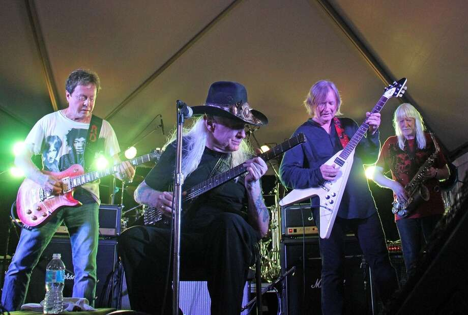 NEW YORK, NY - AUGUST 08:  Rick Derringer, Johnny Winter, Kim Simmonds and Edgar Winter performs during the 2012 Rock'n'Blues Fest at the Beekman Beer Garden Beach Club on August 8, 2012 in New York City.  (Photo by Bobby Bank/WireImage) Photo: WireImage
