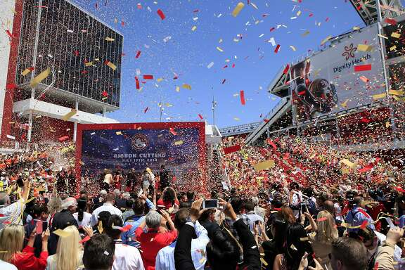 Confetti and streamers are fired off during a ribbon cutting ceremony officially opening Levi's Stadium in Santa Clara, CA, Thursday, July 17, 2014.