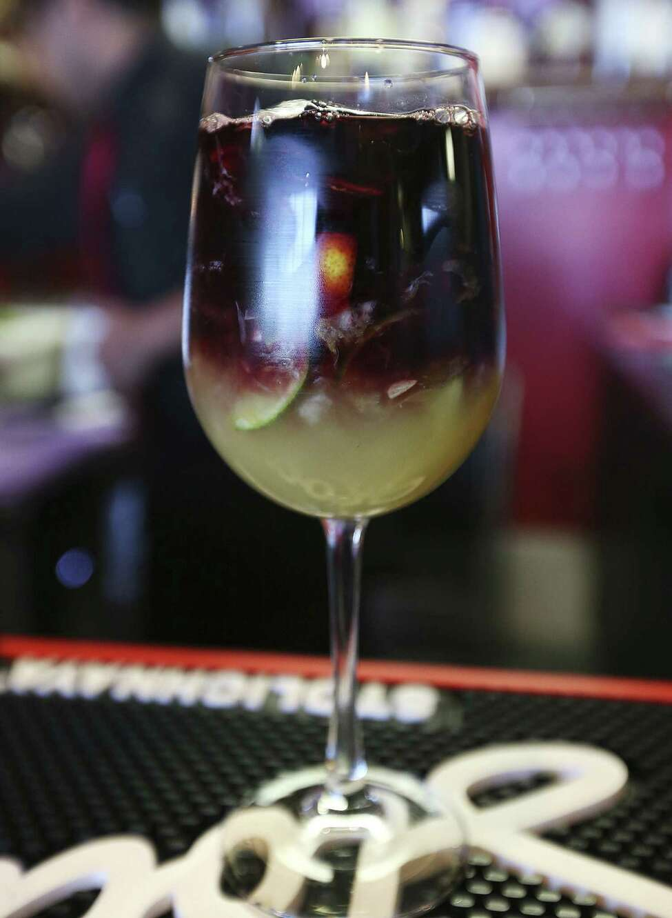 A Galpão Gaucho Sangria before it's stirred. It can be made with red or white wine.