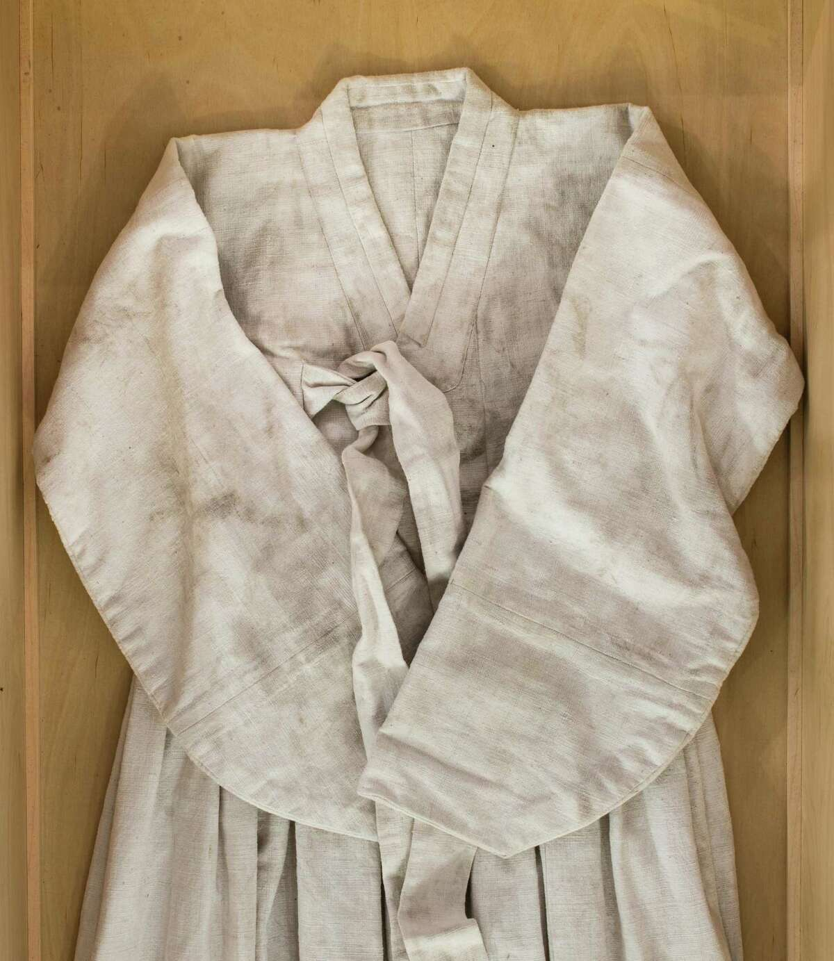 """""""You and Me"""" is a handmade Korean dress that is part of Jungeun Lee's installation about a comfort woman in WWII."""