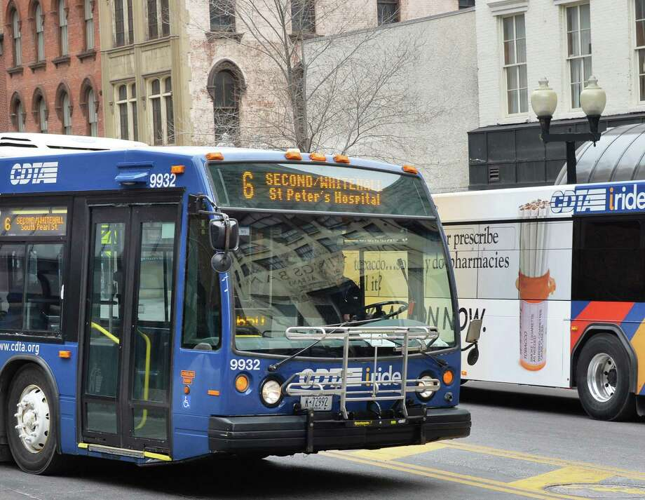CDTA buses on North Pearl Street Wednesday March 5, 2014, in Albany, NY.  (John Carl D'Annibale / Times Union) Photo: John Carl D'Annibale / 00026020A