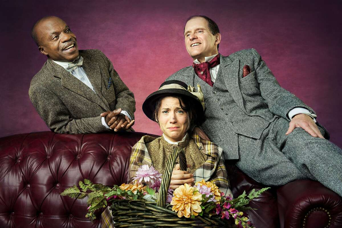 (L to R) L. Peter Callender as Colonel Pickering, Irene Lucio as Eliza Doolittle, and Anthony Fusco as Professor Henry Higgins, in California Shakespeare Theater's production of Pygmalion, directed by Jonathan Moscone; photo by Kevin Berne.