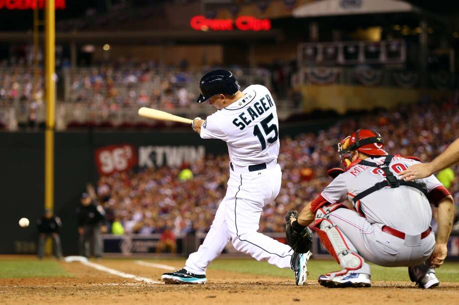 MINNEAPOLIS, MN - JULY 15:  American League All-Star Kyle Seager #15 of the Seattle Mariners bats against the National League All-Stars during the 85th MLB All-Star Game at Target Field on July 15, 2014 in Minneapolis, Minnesota.  (Photo by Elsa/Getty Images) Photo: Getty Images