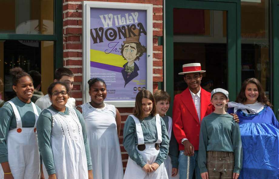 "The cast of ""Willy Wonka Jr."" poses in front of the Bijou Theatre in Bridgeport. The production is slated for Friday evening, July 25. Photo: Contributed Photo / Connecticut Post Contributed"