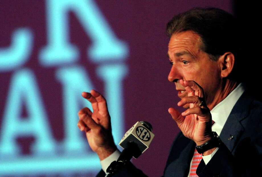 Alabama coach Nick Saban said Thursday that he did not talk to Texas about its coaching job while not saying whether his agent discussed the position. Photo: Butch Dill, FRE / FR111446 AP