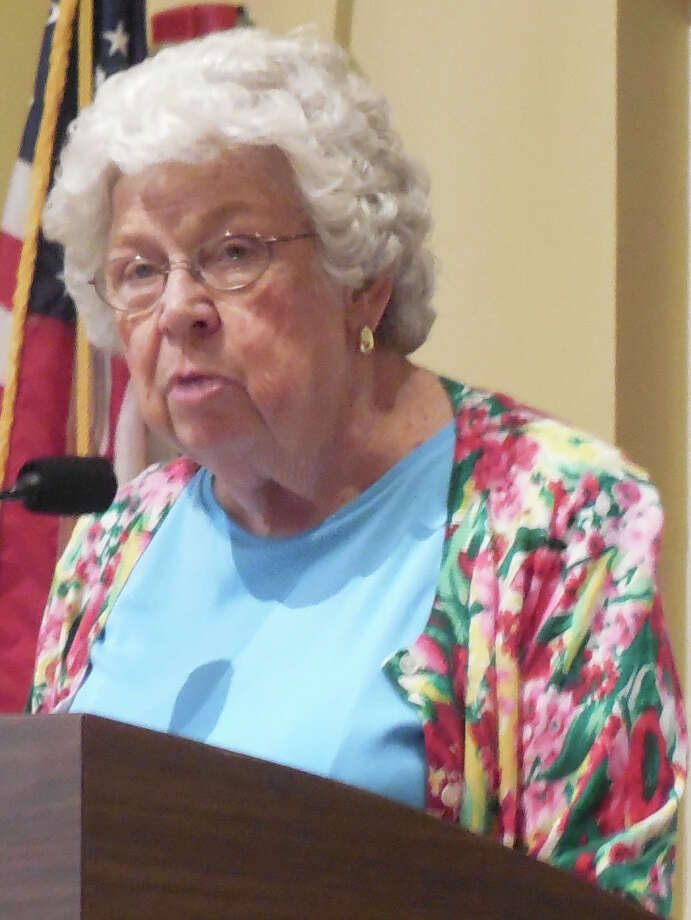 Resident Martha Aasen was one of those who voiced support for the approval of a text amendment concerning the Baron's South project during a Planning & Zoning Commission meeting Thursday night. Photo: Anne M. Amato / westport news