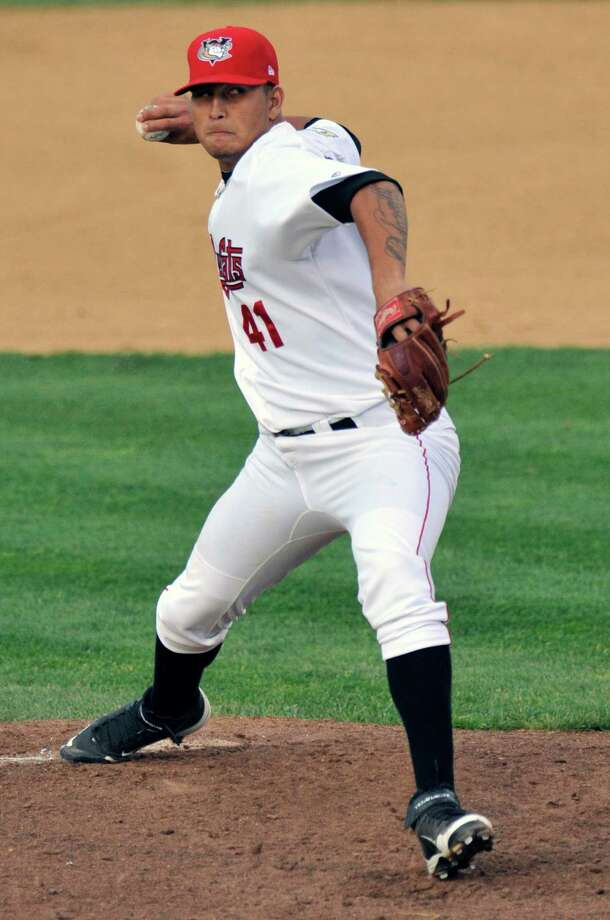Tri-City ValleyCats' Luis Ordosgoitti pitches against the Aberdeen IronBirds' during their minor league baseball game on Thursday, July 17, 2014, in Troy, N.Y., (Hans Pennink / Special to the Times Union) ORG XMIT: HP101 Photo: Hans Pennink / Hans Pennink
