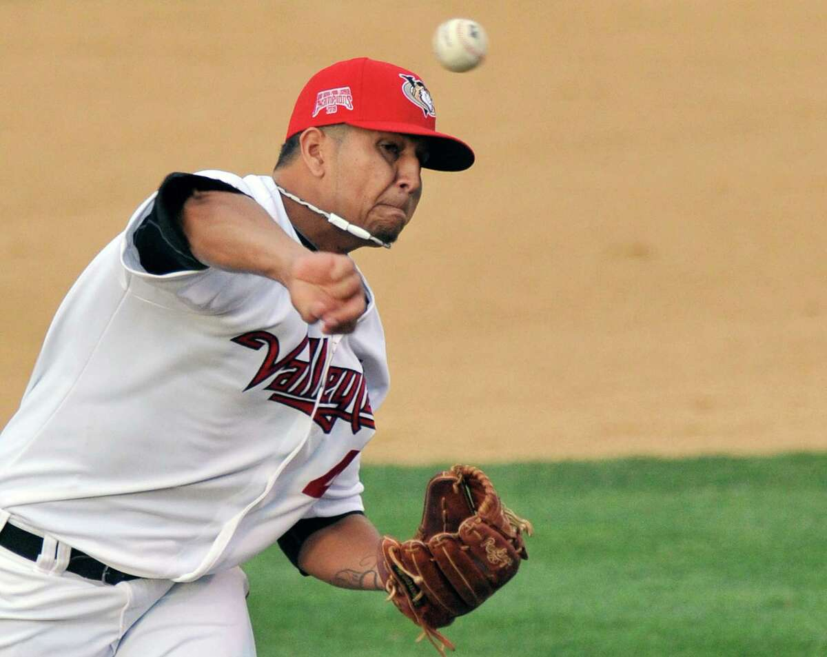 Tri-City ValleyCats' Luis Ordosgoitti pitches against the Aberdeen IronBirds' during their minor league baseball game on Thursday, July 17, 2014, in Troy, N.Y., (Hans Pennink / Special to the Times Union) ORG XMIT: HP102